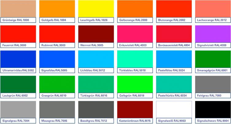 Mögliche Farbvarianten