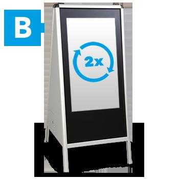 MUVI Werbeaufsteller mit Display auf beiden Seiten